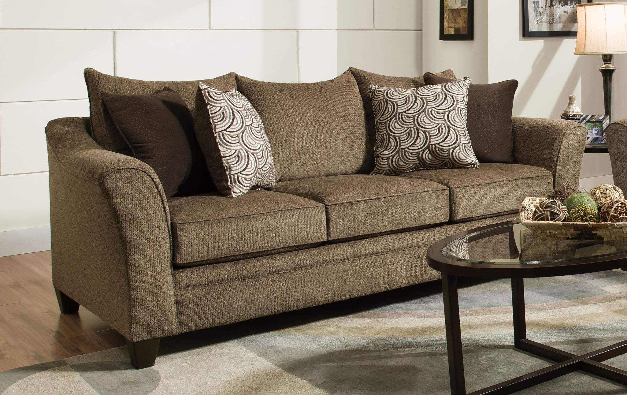 United Furniture Industries 6485 Transitional Sofa - Item Number: 6485Sofa-AlbanyTruffle