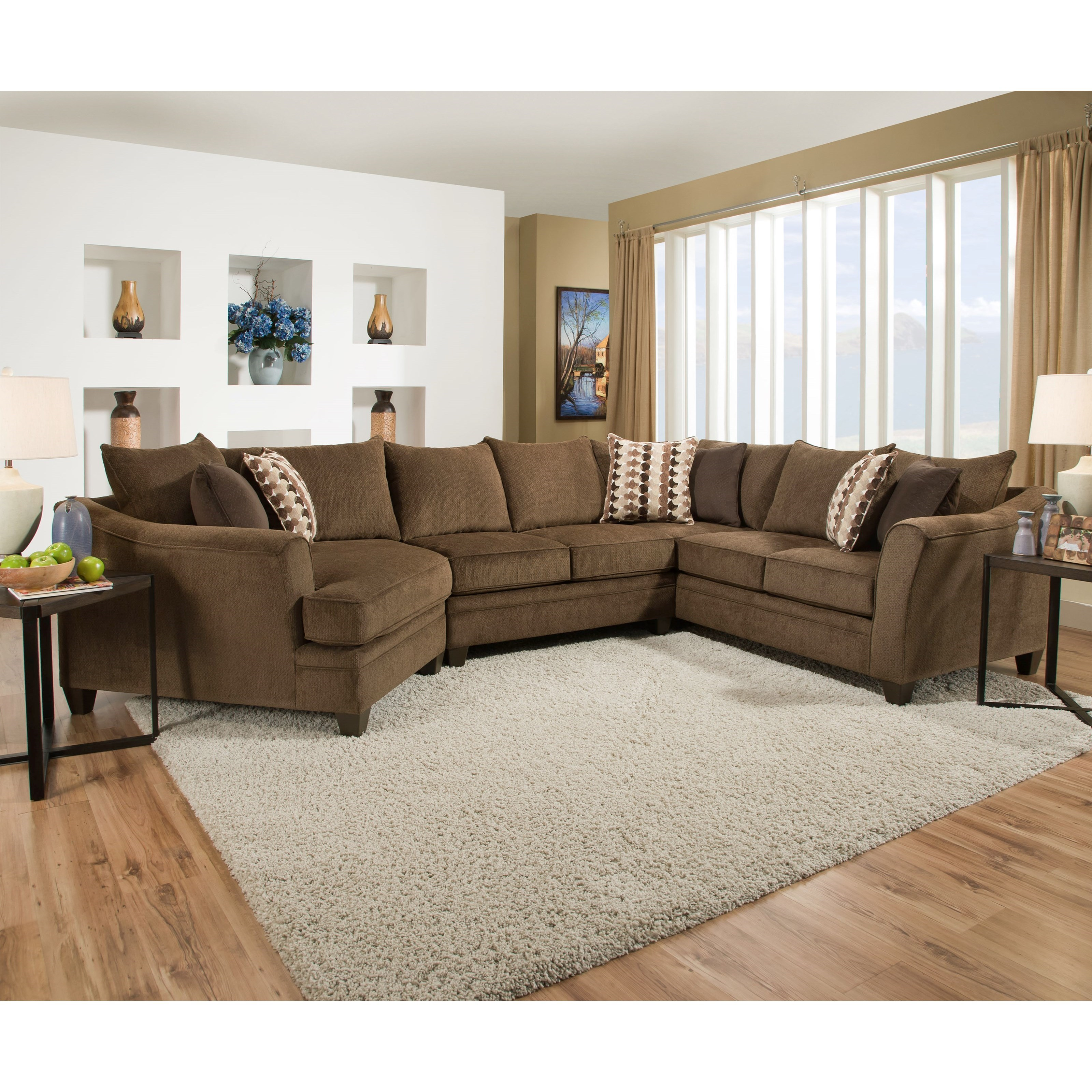 United Furniture Industries 6485 Transitional Sectional Sofa Item Number 6485wedge Armlesslvseat Psofa