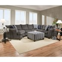 United Furniture Industries 6485 Transitional Sectional Sofa - Item Number: 6485Wedge+ArmlessLVseat+BumpSofa-S