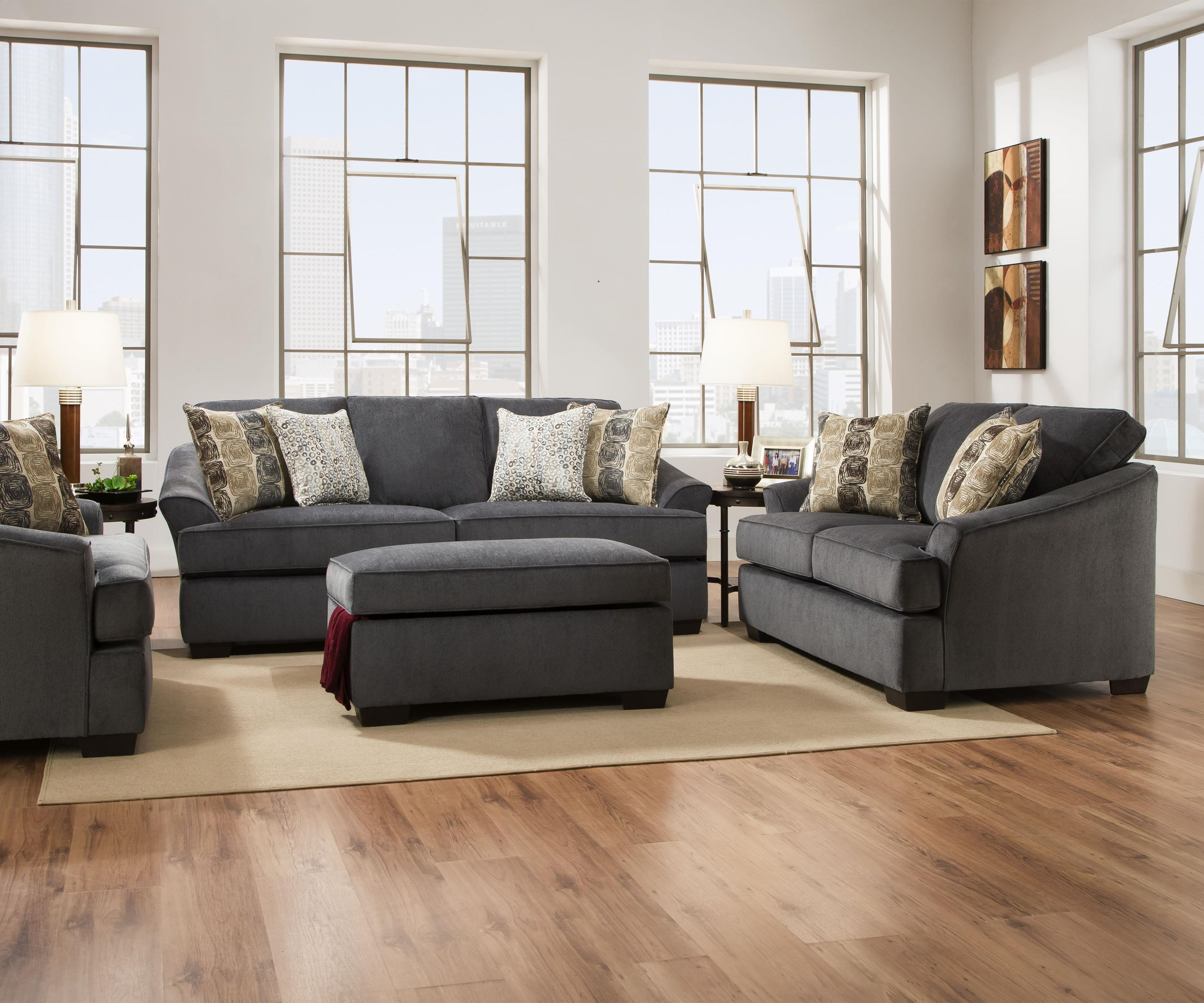 Simmons Upholstery 6522 Casual Sofa and Loveseat - Item Number: 6522S+L