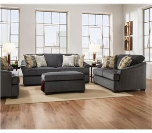 Simmons Upholstery 6522 Casual Sofa and Loveseat