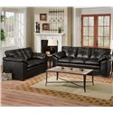 Simmons Upholstery 6569 Upholstered Loveseat with Tufted Back - Shown with Coordinating Collection Sofa