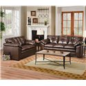 Simmons Upholstery 6569 Upholstered Loveseat with Tufted Back - Shown with Matching Sofa