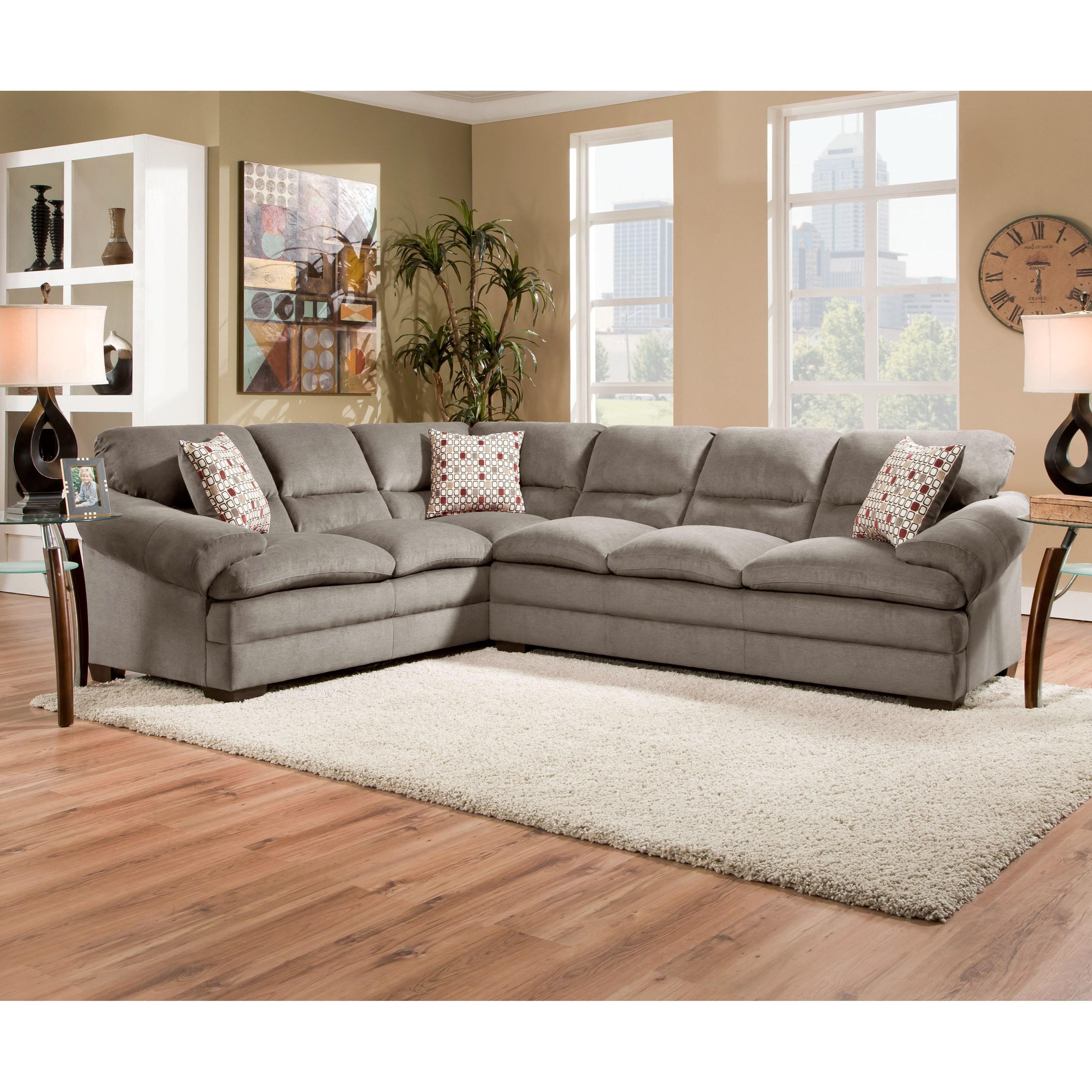 United Furniture Industries 6587 Casual Sectional Sofa - Item Number: 6587LAFSofa+RAFSofa-MirandaShale