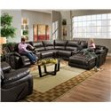 United Furniture Industries 660 Casual Reclining Sectional Sofa - Item Number: 50660 LAF LS+W+AC+RAF Cuddler Cocoa