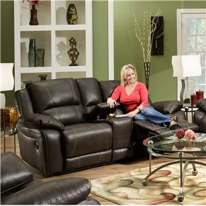 United Furniture Industries 660 Casual Power Double Motion Console Loveseat