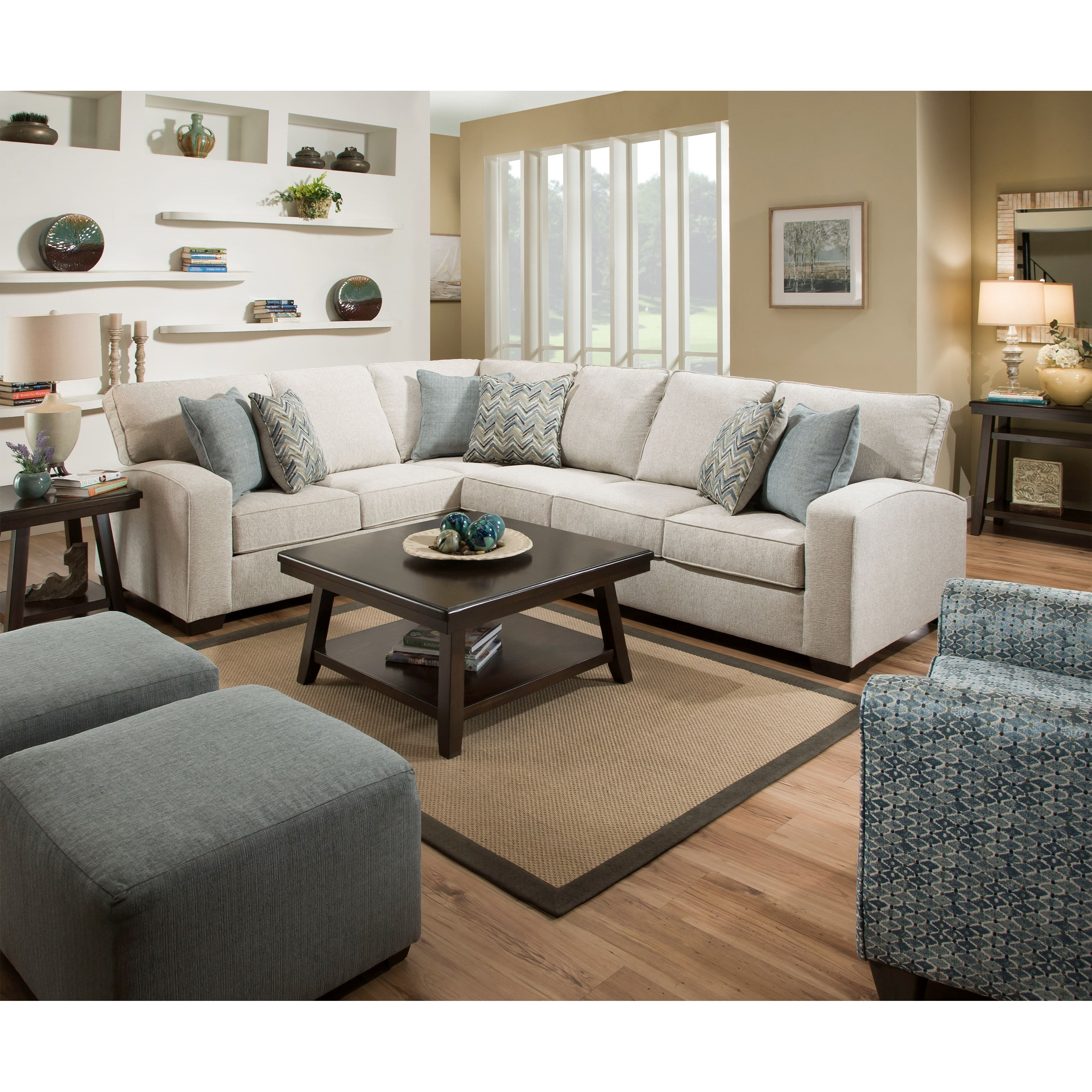 United Furniture Industries 6485 Transitional Loveseat: United Furniture Industries 7077 Transitional L-Shaped