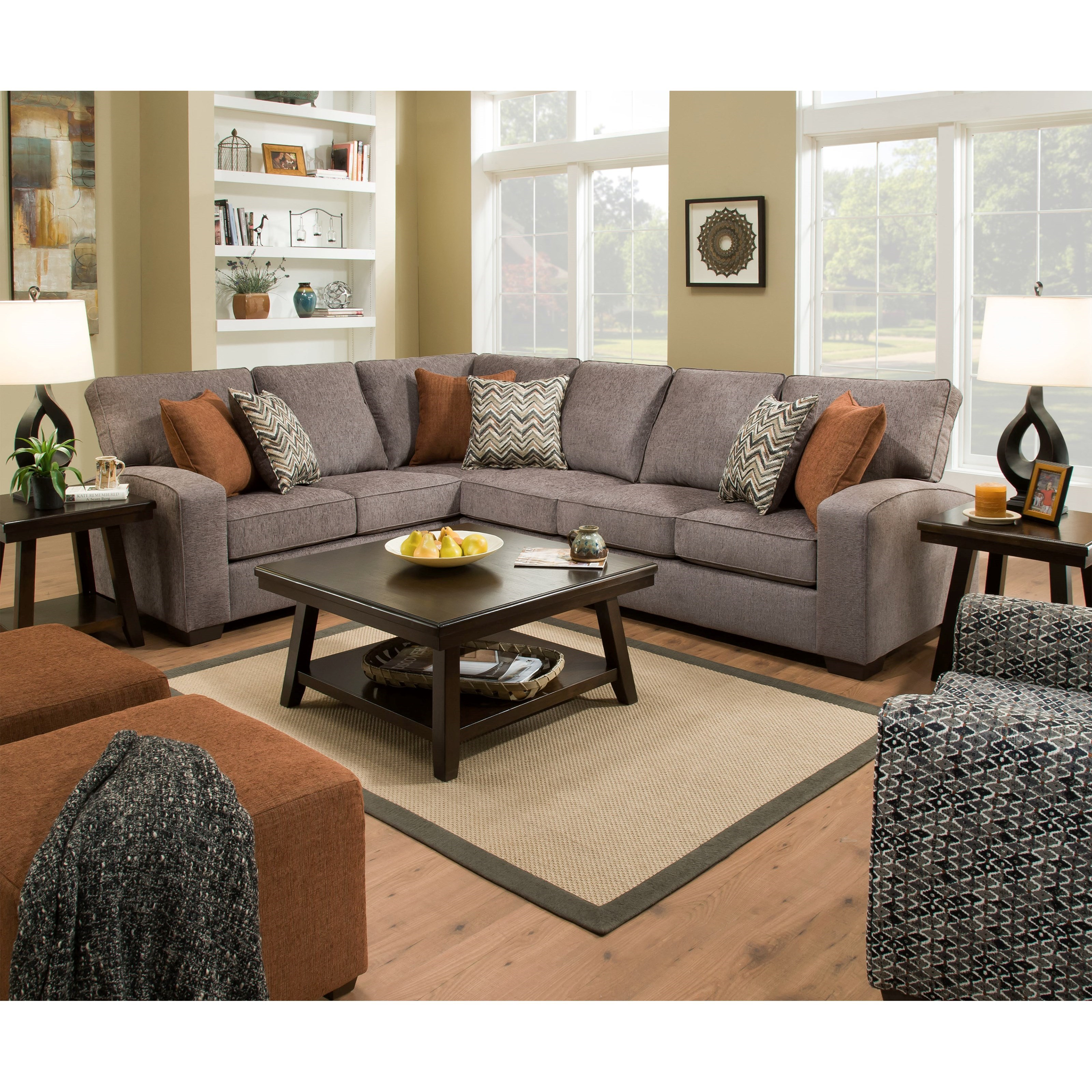 7077 Transitional L Shaped Sectional With Track Arms By United Furniture Industries At Household Furniture