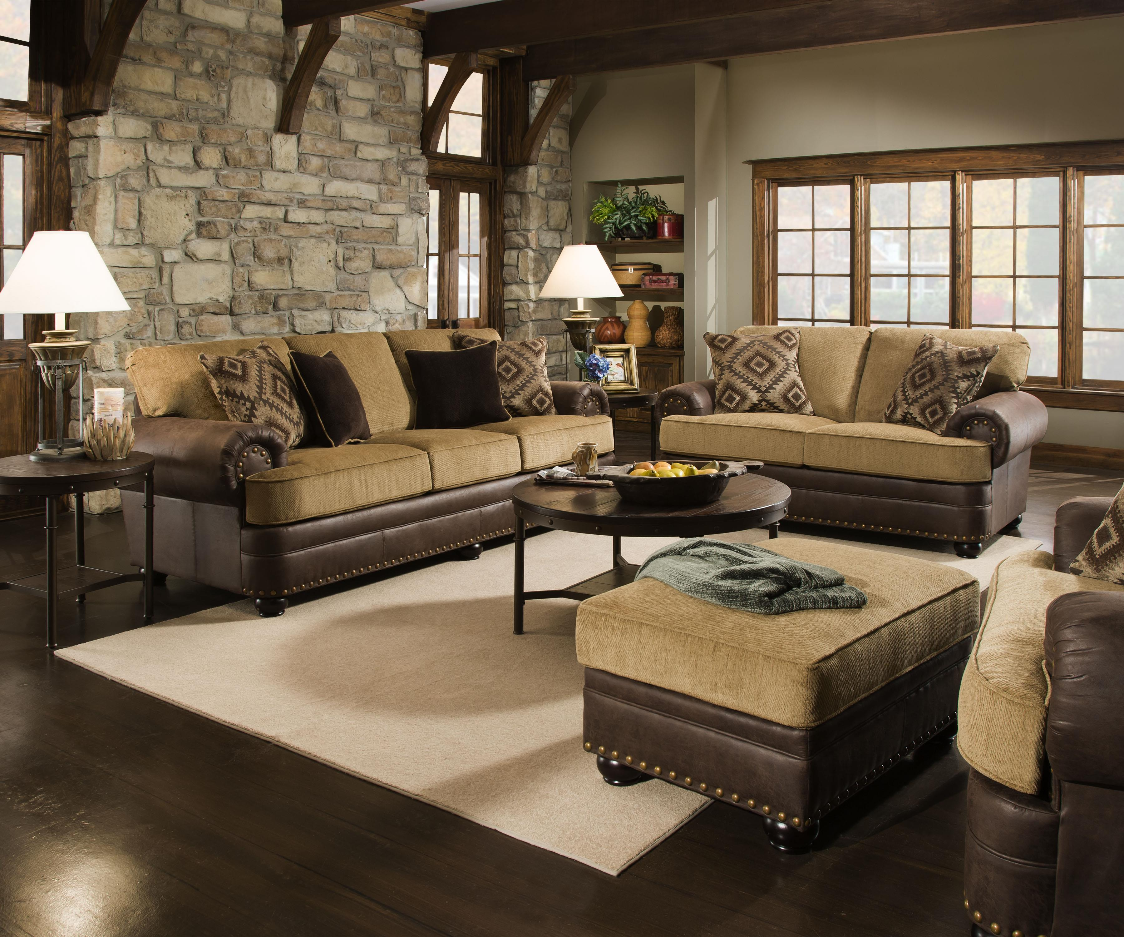 United furniture industries 7541 rustic style sofa with - Simmons living room furniture sets ...