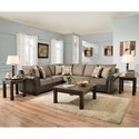 United Furniture Industries 7591 5 Seat Sectional Sofa - Item Number: 7591BR-LAF-BUMP+RAF-WO-QN