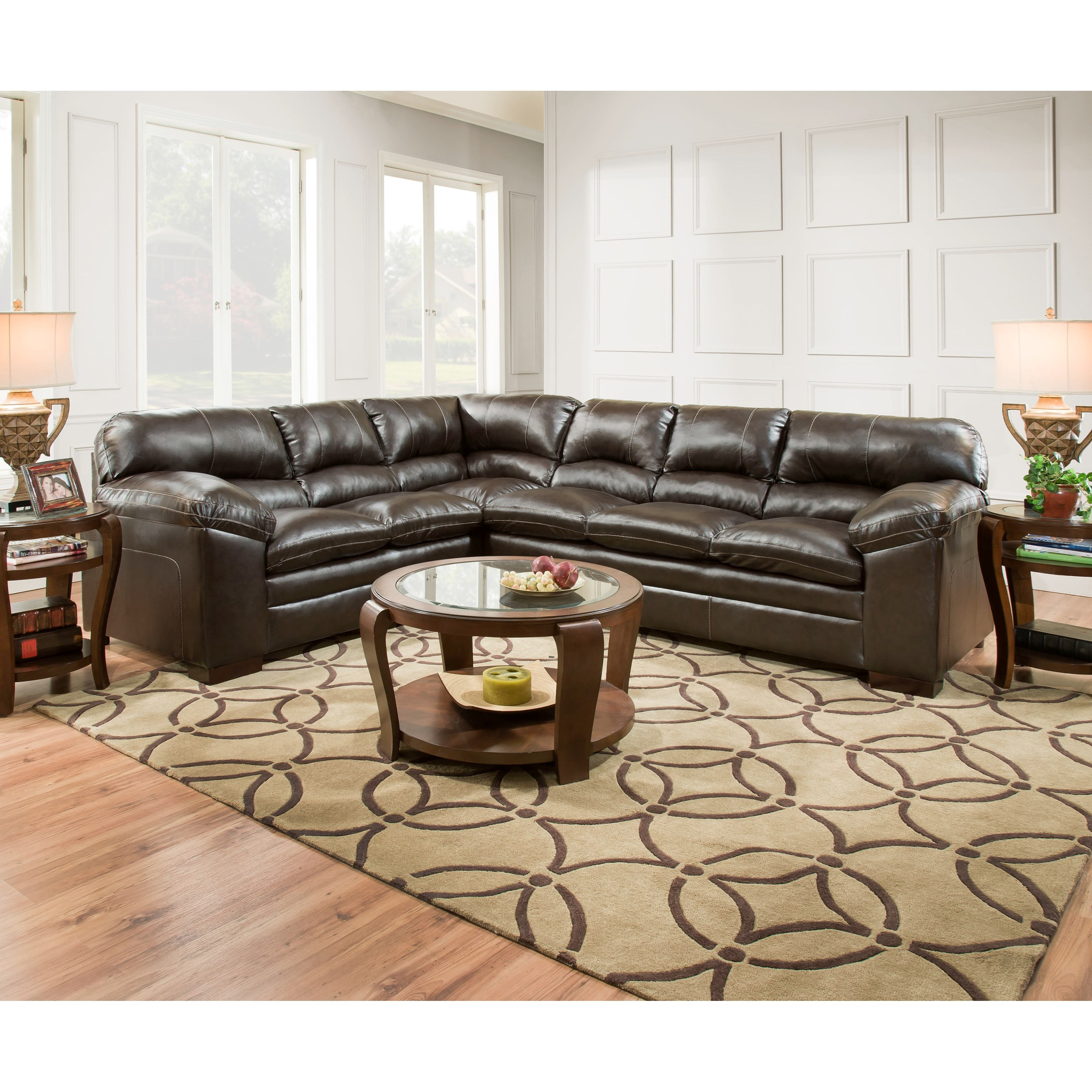 United Furniture Industries 8049 Casual Sectional Sofa - Item Number: 8049LAFBumpSofa+RAFSofa-BingoBrown