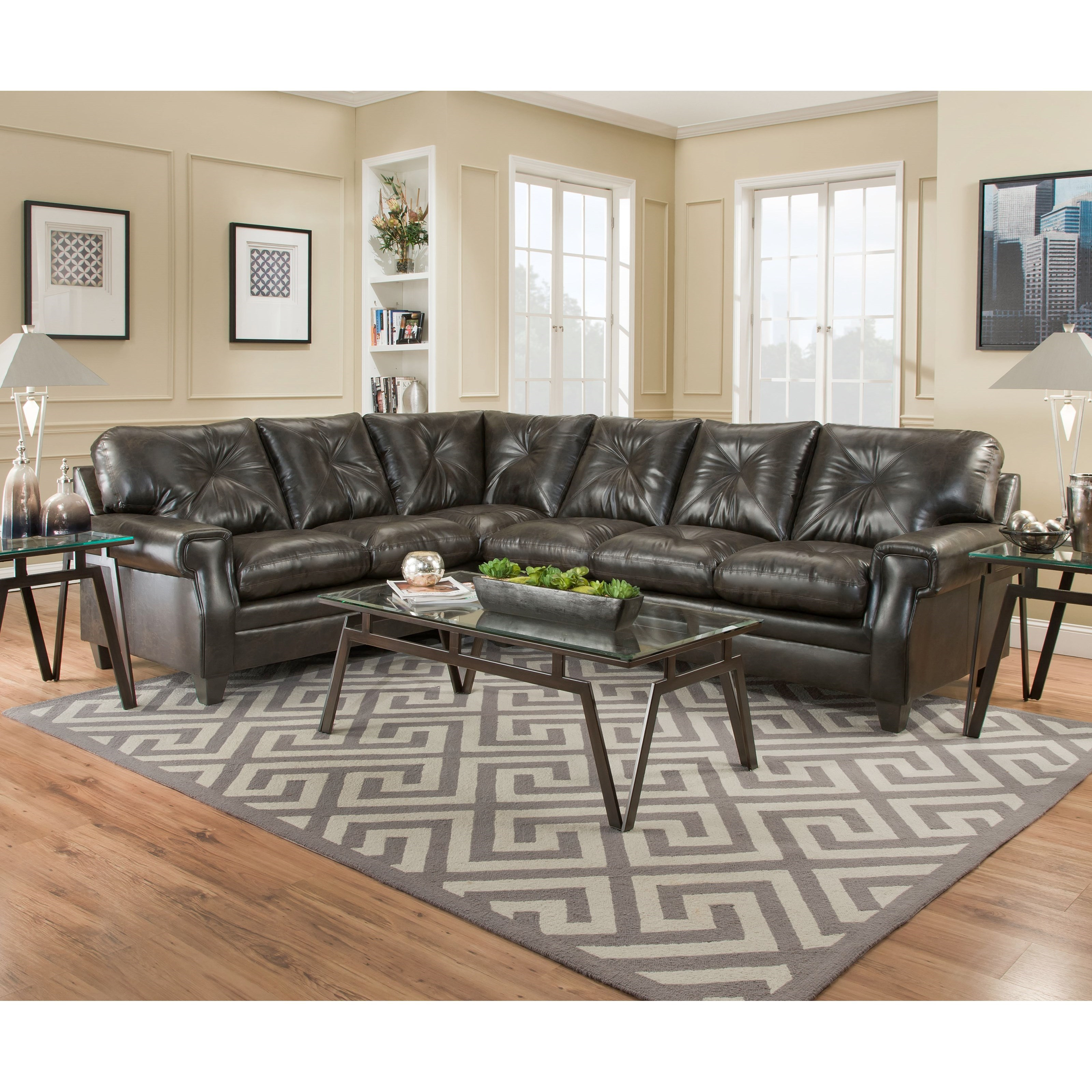Simmons Upholstery 8065 5 Seat Sectional - Item Number: 8065RAFSofa+LAFBumpSofa-LuckyMarble