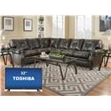 Simmons Upholstery Lucky Marble 5 Seat Sectional - Item Number: 8065Sectional with 32 inch TV