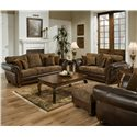 Simmons Upholstery 8104 Leather and Chenille Love Seat - Shown with Sofa, Ottoman and Chair