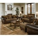 United Furniture Industries 8104 Traditional Ottoman with Bun Feet - Shown in Room Setting with Sofa, Loveseat, and Chair