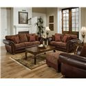 United Furniture Industries 8104 Stationary Leather and Chenille Sofa - Shown with Loveseat, Ottoman, and Chair