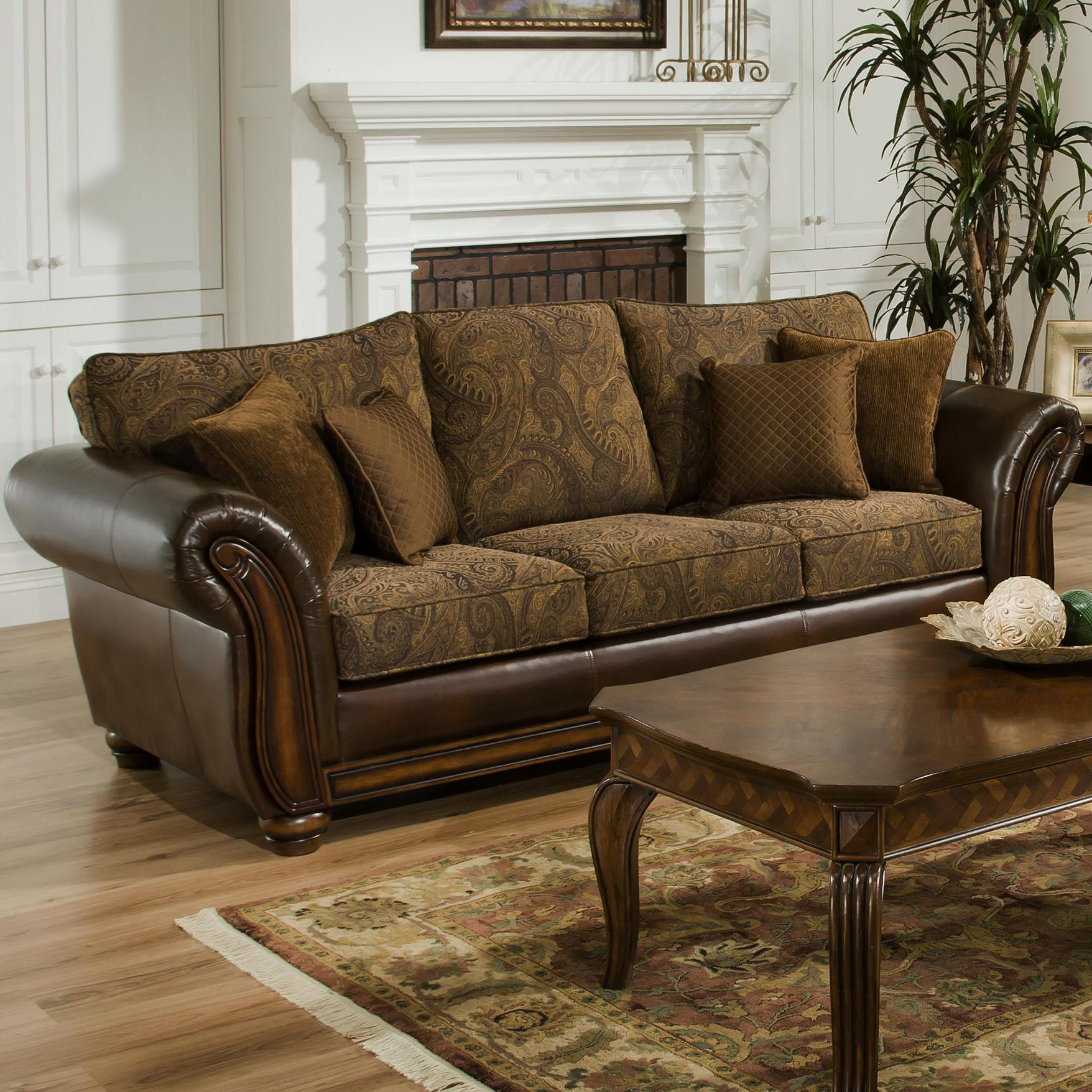 Simmons upholstery 8104 stationary leather and chenille sofa royal furniture sofas Upholstered sofas and loveseats