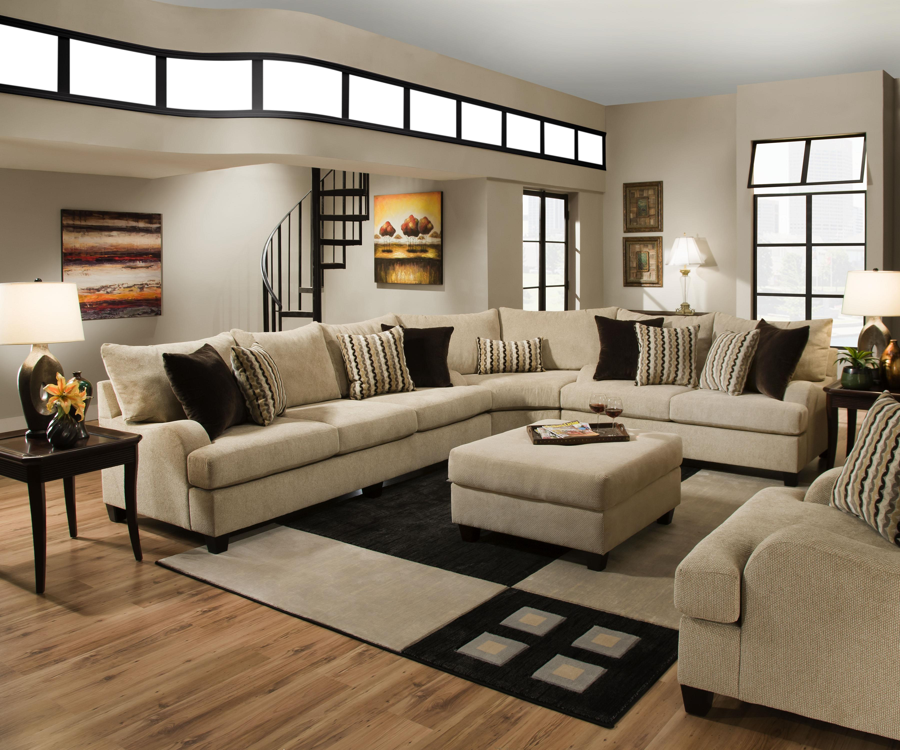 Simmons Upholstery 8520 Sectional Sofa - Item Number: 8520Sectional-TrindadTaupe