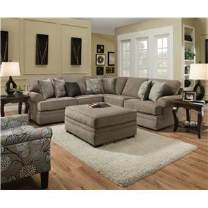 Simmons Upholstery 8530 BR Sectional Sofa with Rolled Arms