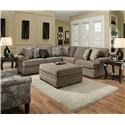 Simmons Upholstery 8530 BR Sectional Sofa with Rolled Arms - Item Number: 8530 MP