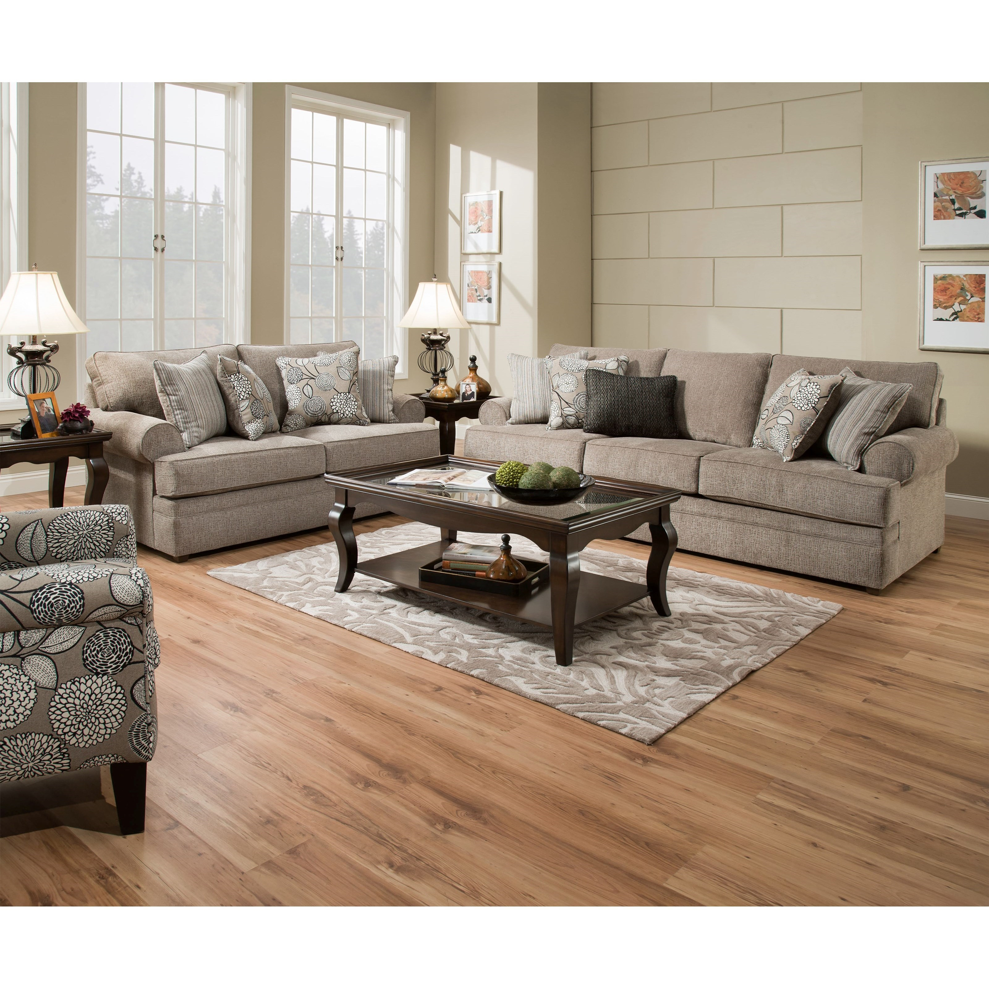 Simmons Upholstery 8530 BR Transitional Sofa With Rolled