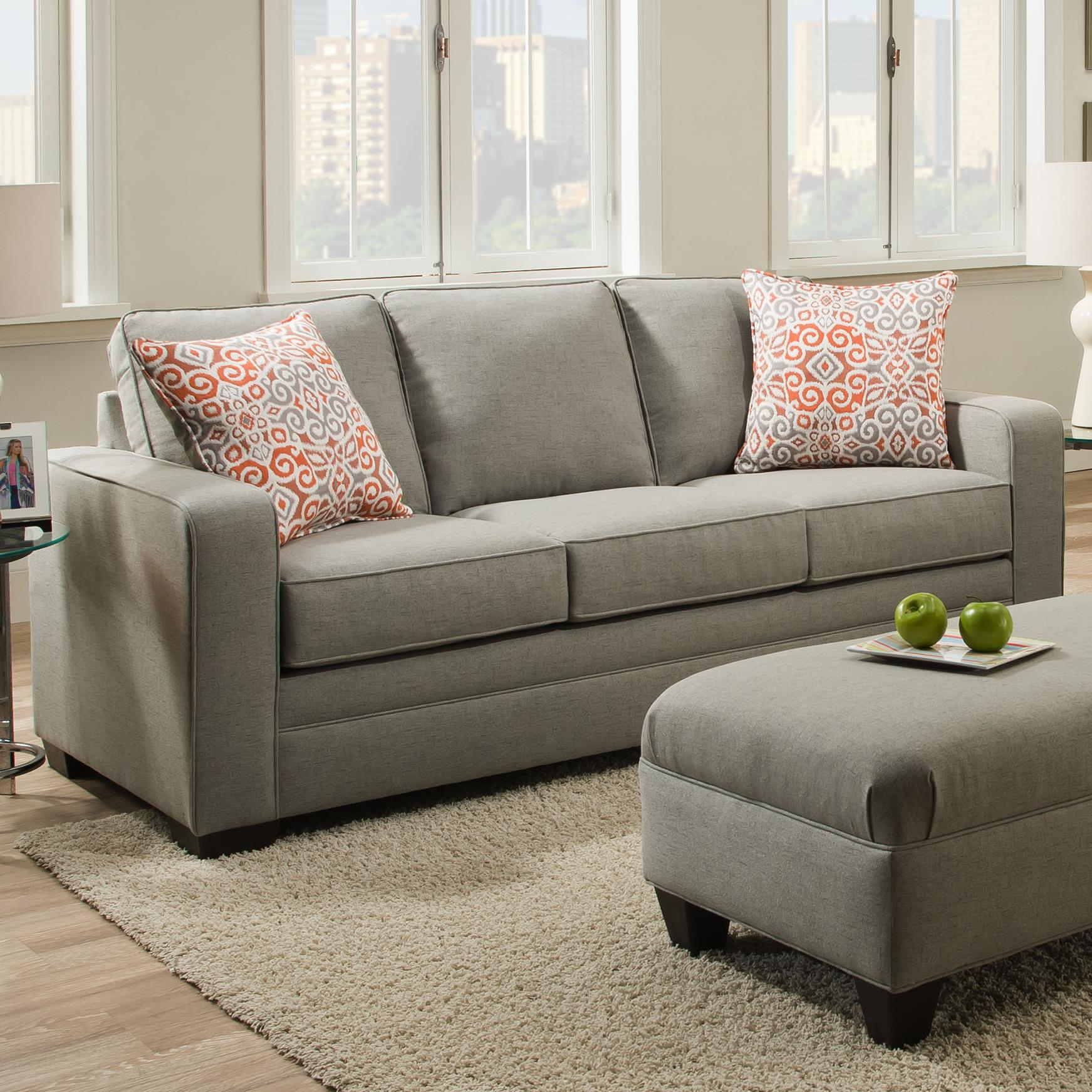 Simmons Upholstery 9064 United Transitional Queen Sleeper Sofa