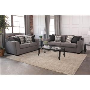 Simmons Upholstery Roxanne Sofa and Loveseat - 9071S + 9071L