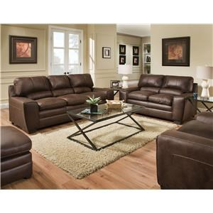 Simmons Upholstery 9085 Sofa and Loveseat - 9085 Sable