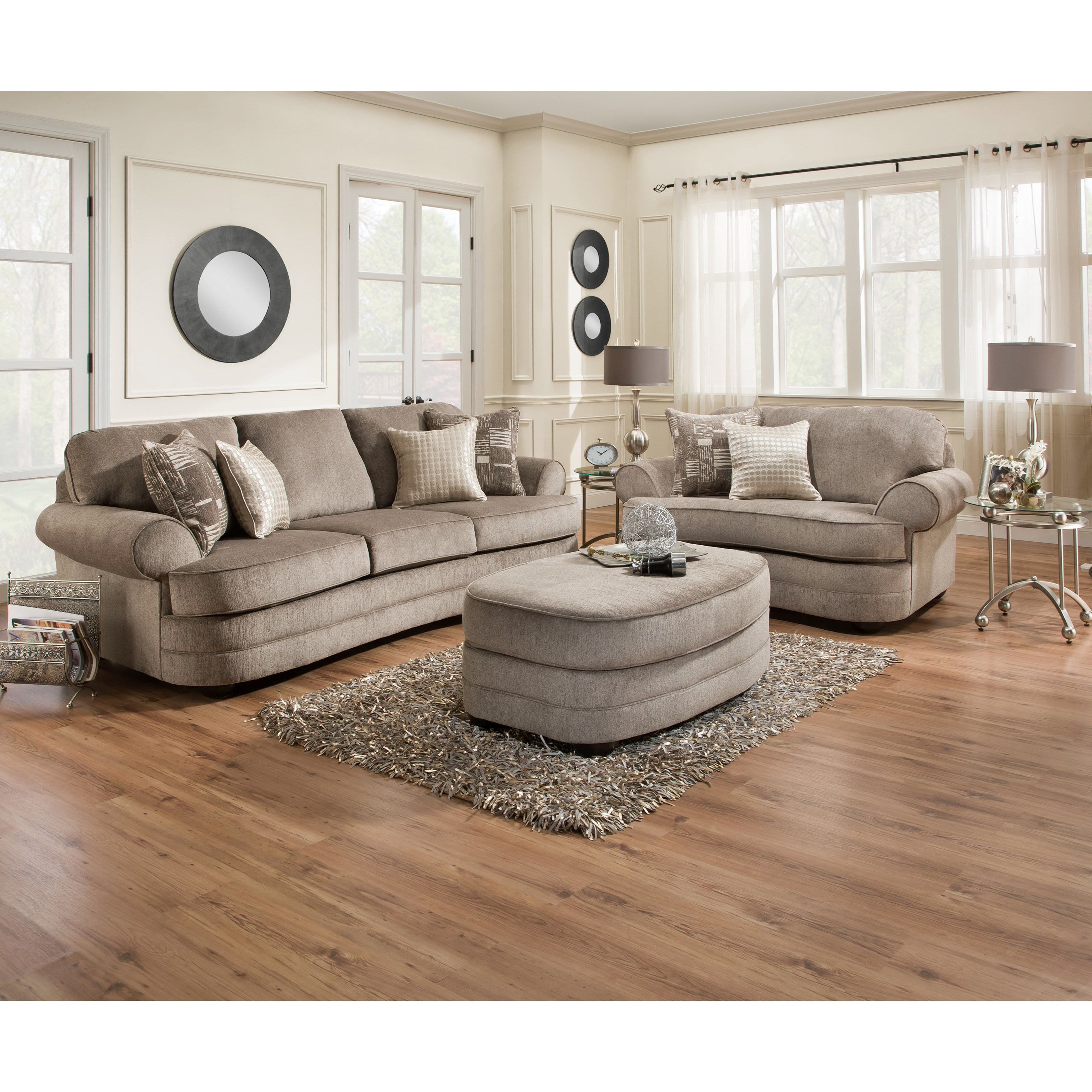 Simmons Upholstery 9255BR Transitional Sofa With Rolled