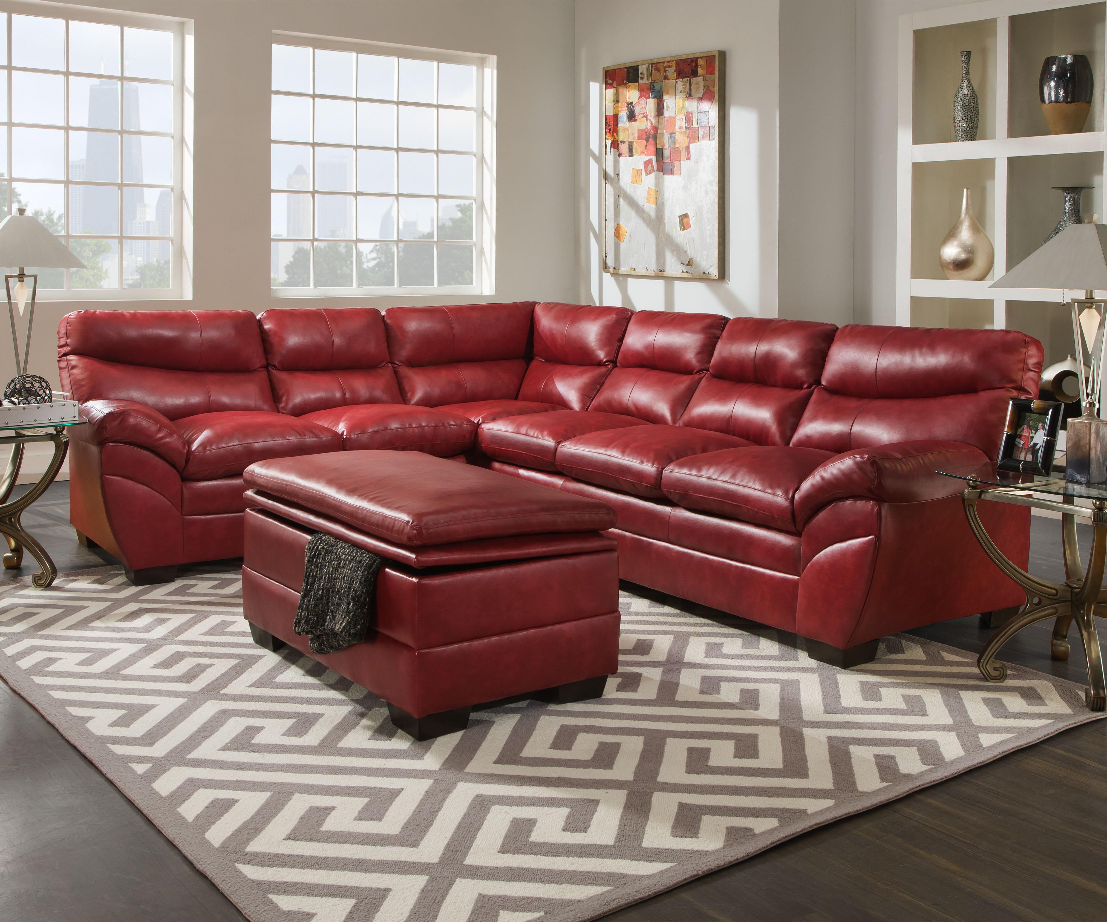 United Furniture Industries 9515 Casual Sectional Sofa - Item Number: 9515LAFBumpSofa+RAFSofa-Cardinal