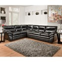 United Furniture Industries 9515 Casual Sectional Sofa - Item Number: 9515LAFBumpSofa+RAFSofa-Onyx