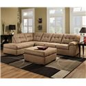 United Furniture Industries 9558 2 Piece Sectional Sofa - Item Number: 9558 LAF Chaise+RAF Sofa Latte