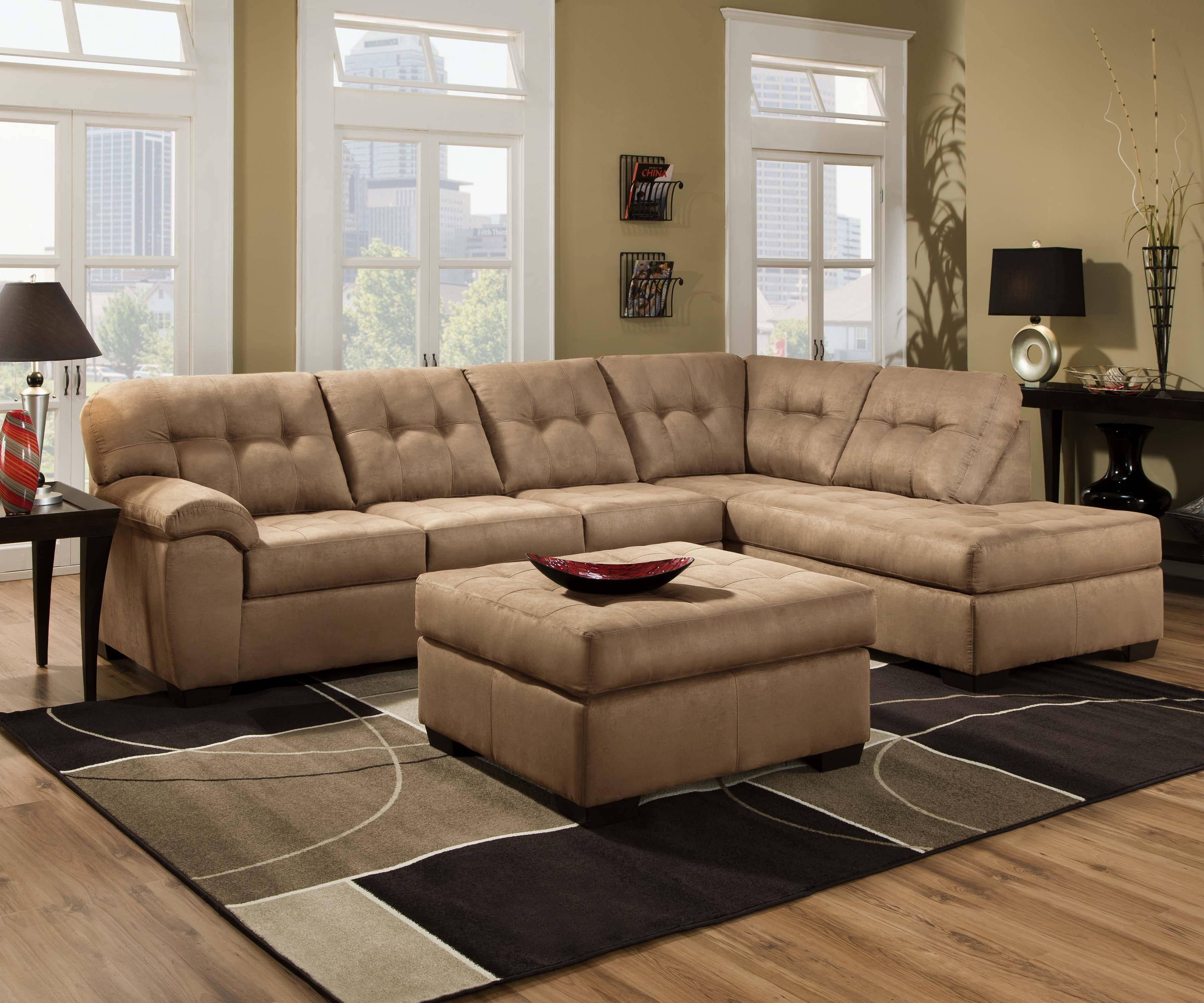 United Furniture Industries 9558 2 Piece Sectional Sofa with Chaise - Item Number: 9558 LAF Sofa+RAF Chaise Latte