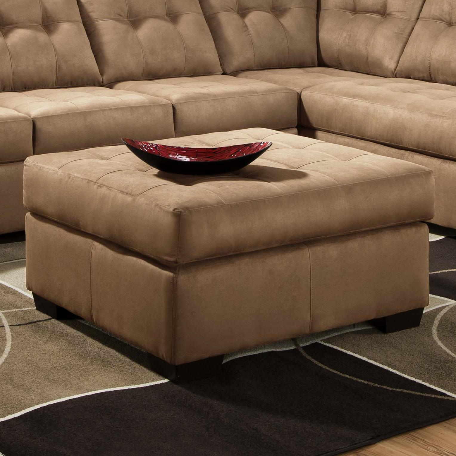 United Furniture Industries 9558 Transitional Tufted Cocktail Ottoman - Item Number: 9558 Ottoman Latte