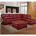 Simmons Upholstery 9569 Oversized Tufted Cocktail Ottoman - Shown with Sectional Sofa