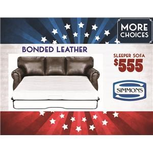 Simmons Upholstery Bonded Leather Queen Sleeper Sofa