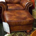 United Leather 16237 Leather Ottoman with Nail Head Trim