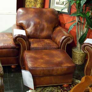 United Leather 16237 Chair and Ottoman with Nail Head Trim