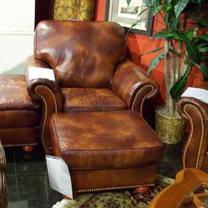 United Leather 16237 Leather Chair with Nail Head Trim