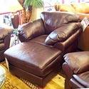 United Leather Churchill Leather Upholstered Ottoman - Shown here with the CU1 Upholstered Chair