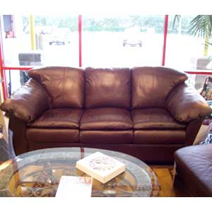 United Leather Churchill Leather Sofa Sleeper with Pillow Arms