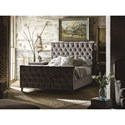 Universal Authenticity Queen Franklin Street Bed in Grey Cloud Velvet