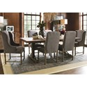 Universal Authenticity 7 Piece Trestle Table and Upholstered Chair Set