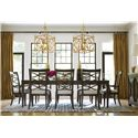 Universal California - Hollywood Hills 9 Piece Dining Set with X-Back Side Chairs