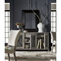 Universal Curated Glenmore Sideboard with Inset Metal Doors Panels