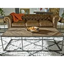 Universal Curated Langston Cocktail Table with Parquet Pattern Top