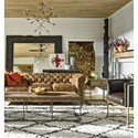 Universal Curated Langston End Table with Parquet Pattern Top