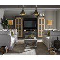 Universal Curated Darcy Entertainment Cabinet with Sliding Farmhouse Doors