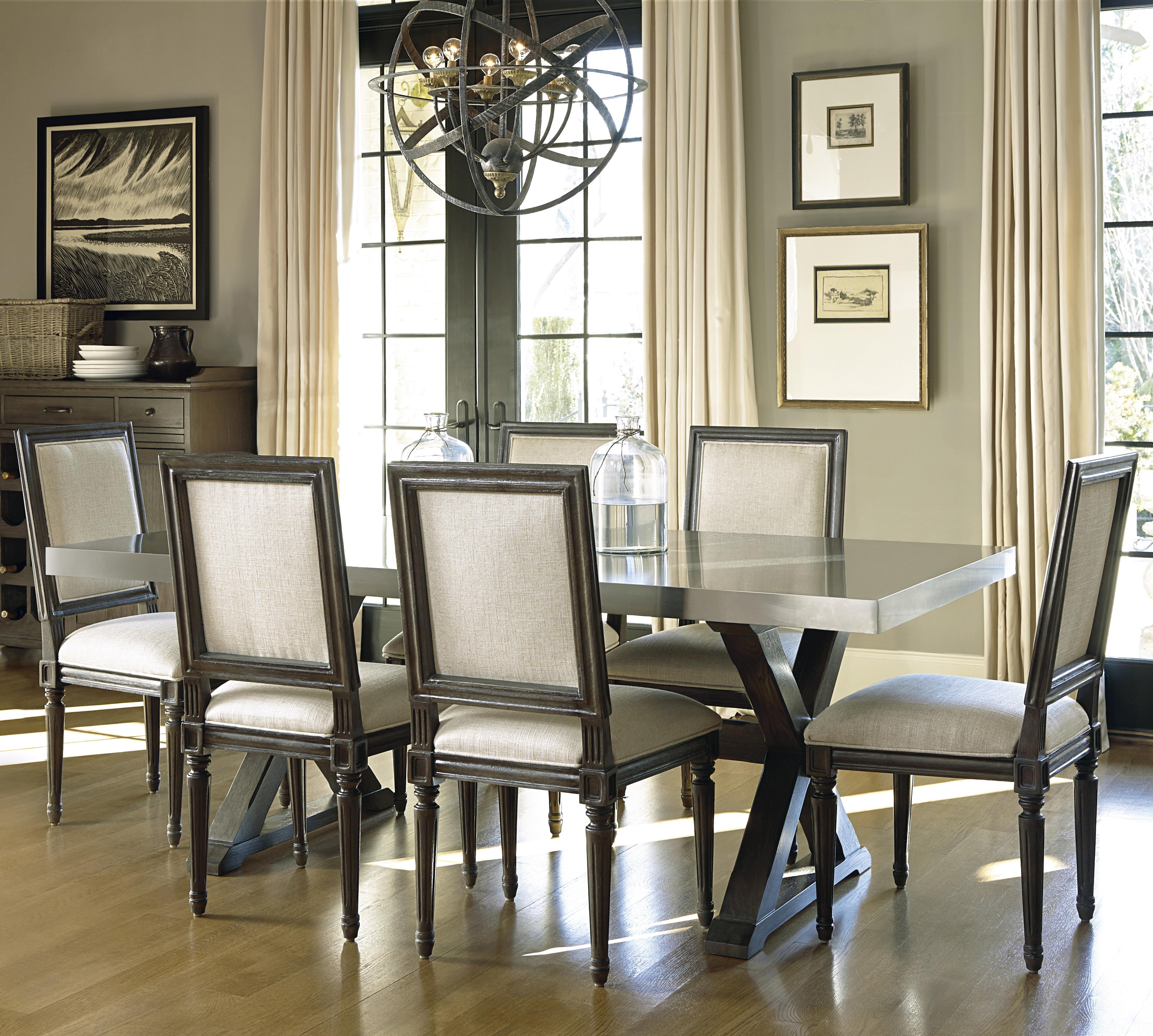Universal Curated 7 Piece Brownstone Dining Set With Flatiron Table Dunk Bright Furniture