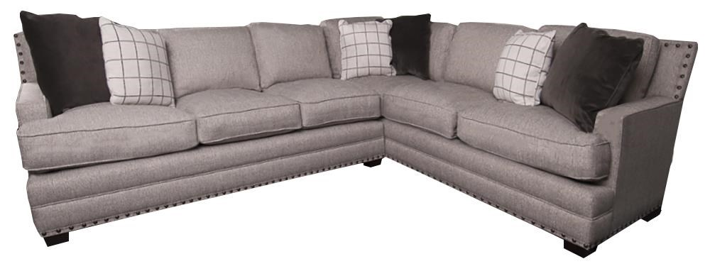 Sectional Sofa With Decorative Pillows And Nailhead Trim